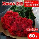 【送料無料】クリスマス赤いバラの花束ギフト60本 05P03Dec16