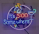 【中古】【輸入品・未使用】It 's 5?: 00?SOMEWHERE Parrotビールバーパブストアパーティー部屋壁Display Neon Signs 19?x 15