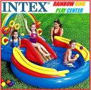 【送料無料】INTEX インテックス レインボーリング プレイセンターファミリープール 水遊び滑り台/シャワー/スプレー/大型プール/家族/親子で/子供こども用/ファミリー/ビニールプール/子供用/屋外プールの画像