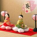 雛人形 ひな人形 ちりめん コンパクト 小さい ミニ|桜満開雛|お雛様 ひな祭り『龍虎堂』リュウコドウ