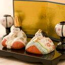 雛人形 ひな人形 陶磁器 コンパクト 小さい ミニ睦み雛 ボンボリ付き 『龍虎堂』リュウコドウ