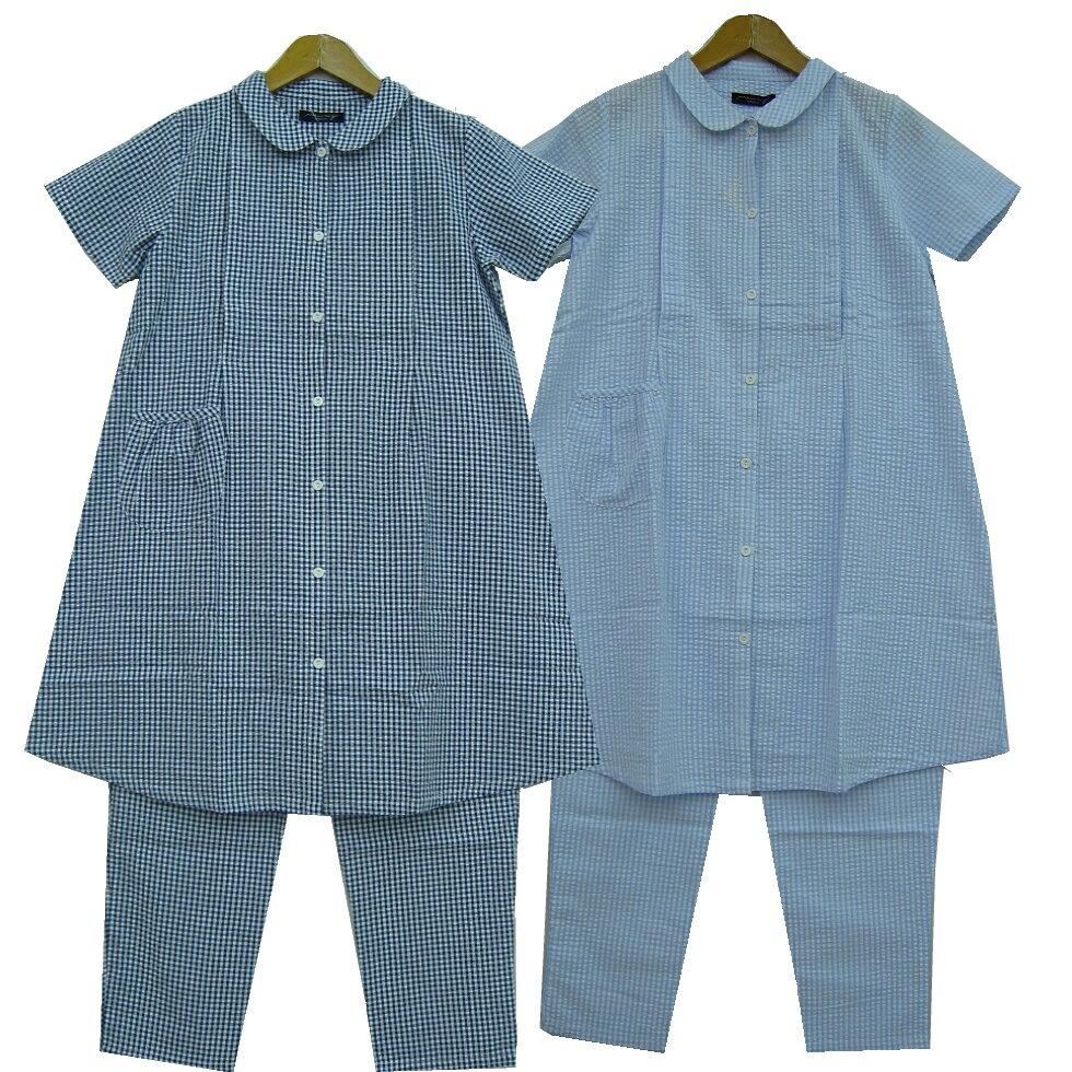 【半袖 授乳口付きパジャマ】217202 先染め...の商品画像
