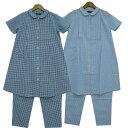 【半袖 授乳口付きパジャマ】217202 先染めサッカーギンガムパジャマ