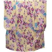 【WT1合繊・金】y 七五三 女の子 クリーム色バラ柄着物7歳用結び帯・和装小物トータルセット