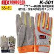 トンボ レスキューグローブ トンボレックス K-501 厚手 現場用手袋 作業手袋 ケブラー ニット 合皮 (DM便可能・ネコポス可能:1双まで)