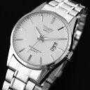 【メール便送料無料】美しい●SWIDUメンズファッション腕時計【ホワイト】日付表示/金属ベルト/ビジ