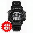 【メール便送料無料】子供用 HONHX デジタル腕時計【ブラ...