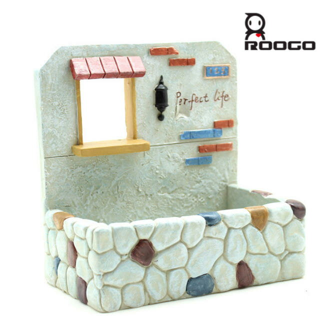 [Roogo]多肉植物・壁掛けプランター石積みのあるおうち植木鉢/ポット/サボテン/花/カクタス/セ