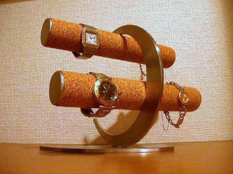 時計ケース 三日月デザイン丸パイプコルク張り腕時計スタンド
