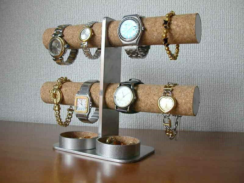 腕時計スタンド ダブル丸トレイ8本掛けインテリア腕時計スタンド