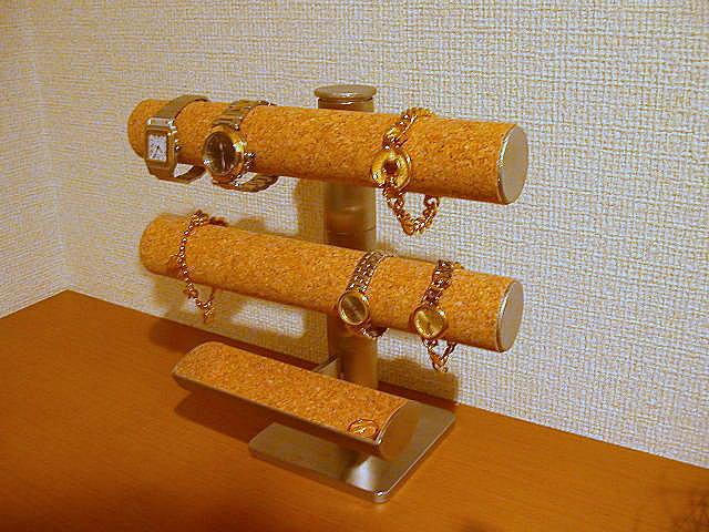 腕時計スタンド コルク貼り可動式腕時計スタンドトレイ付き 腕時計のコレクションをディスプレイ!