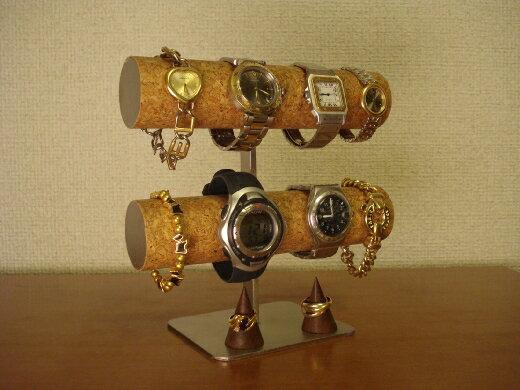 腕時計スタンド 8本掛けジャイアントロングトレイ腕時計スタンド ダブルリングスタンド BK231