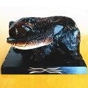 木製 鮭をくわえた熊の木彫り の 置物 【8号】 【K】