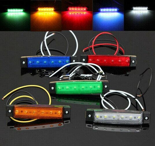 12V/24V兼用 LEDサイドマーカー 12V 角形 片側6連 汎用 赤白アンバー緑青5色選択可能2個セット10P2...