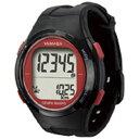 ショッピング電波時計 山佐時計計器 電波時計内蔵万歩計 「ウォッチ万歩計」 TM-500-BR ブラック×レッド TM500