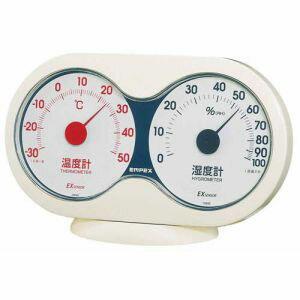 【EMPEX】温度・湿度計 アキュート 温度・湿度計 卓上用 オフホワイト×レッド TM-2781