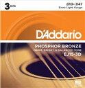D'Addario ダダリオ アコースティック弦 EJ15-3D 3パック Extra Light [.010-.047] Phosphor Bronze Round Wound【国内正規品】[.010-.047] Phosphor Bronze Round Wound1弦 - .010/2弦 - .014/3弦 - .023/4弦 - .030/5弦 - .039/6弦 - .047こちらの商品は日本国内代理店商品となります。(並行輸入品に関しては、代理店保障を受けることが出来ませんのでお気を付け下さい。)ダダリオ D'Addario 国内正規品 EJ15-3D Extra Light .010-.047 アコースティック弦 エクストラライト 3パック