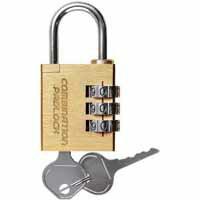 【ノムラテック】緊急開錠キー付 コンビネーションパドロックEK 3DIALS 真鍮 N-2415