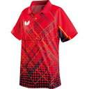 【タマス】バタフライ Butterfly 卓球 ゲームシャツ ユニセックス ファインスクエア・シャツ レッド M 45290
