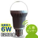 アイリスオーヤマ ECOLUX エコルクス 人感センサー付きLED電球 LDA6N-H-S 昼白色相当 口金E26