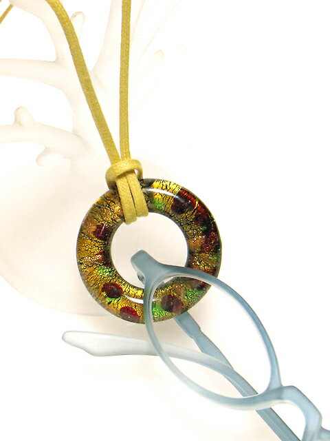 【定形外送料無料】ベネチアンガラス風★ペンダント式グラスホルダー 温かみのある【ミモザ】メガネかけ・めがね掛け***【楽ギフ_包装選択】【楽ギフ_メッセ入力】#YL#BR