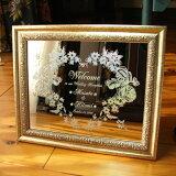 ! !日期纪念欢迎板,雕刻你的名字!关原WM2 25%和各方欢迎板迷你镜型- C] [婚礼现在才05天使玫瑰[【】 ホログラムが美しい ミニミラーウェルカムボード(選べる額付) WM2-05 オリジナル ウェルカムボード ミ