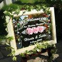 送料無料!!彫刻 ウェルカムボード お名前や日付を記念に! 今だけSALE中 オリジナル ウェルカムボード ミラータイプ ウェディングやパーティーに バラの花 WM1-02-m