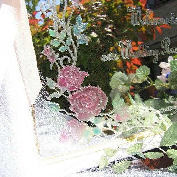 ウェルカムボード【ミラー・大きなバラとアイビー...の紹介画像2