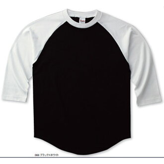 Raglan baseball t-shirt (110、130)-7 minutes sleeves and printed star Printstar #00138-RBB plain.
