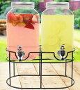 飲料水サーバー ビバレッジディスペンサー ドリンクディスペンサー エスティロ メイソンジャー ダブル 飲料ジャー 約3.7L スタンド付 Mason Jar Dispenser
