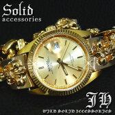 【ct42】送料無料!!★超重量級!!24金ctゴールドブレスウォッチ腕時計★hiphop/b系★