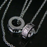 pea14◆2戒指!语气对银项链◆[pea14◆2リング!ペアネックレス◆シルバー調]
