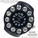 【新作 全21種】 リングウォッチ ブラック 黒 12粒 丸型 クロックリング 指輪時計 指時計 フリーサイズ 指輪 型 時計 かわいい フィン..