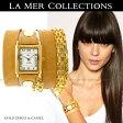 【送料無料】SALE LA MER collections ラメール コレクションズ Disco Gold Chains Wrap Watch in Camel 腕時計 ブレスレット ウォッチ 雑誌掲載 セレブ愛用 【楽ギフ_○○】【RCP】