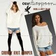【送料無料】正規品 One Teaspoon ワンティースプーンClassic chunky knit jumperニット セーター in Dirty Creamセレブ愛用 雑誌掲載【楽ギフ_○○】【RCP】