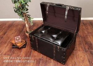 ヴィンテージトランク型スツール2点セット【リバル】スツール収納ボックス合成皮革ブラックブラウン