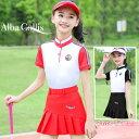 ゴルフウェア ジュニア キッズ 女の子 ガール 子供 ポロシャツ 袖 半袖 スカート レディース 可...