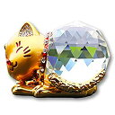 【VICHE CATT】 幸運 招き猫 クリスタル オブジェ 金運 財運 アップ 水晶 風水 グッズ アイテム インテリア 飾り 装飾 置物 (ゴールド)