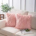 Phantoscope クッションカバー ロングファー 45×45cm 2枚 北欧 ファー おしゃれ フェイクファー インテリア飾り ふわふわ ピンク