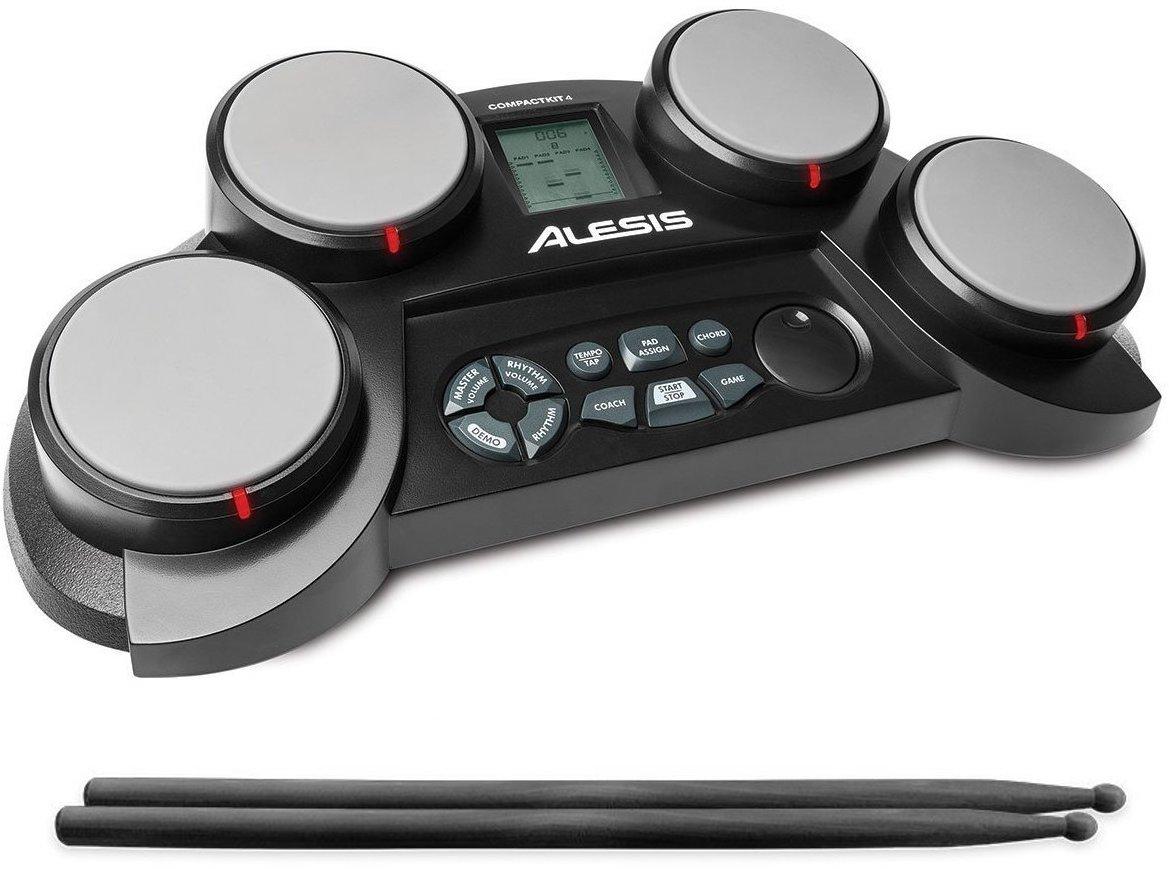 公式/送料無料Alesisポータブル電子ドラムキットコーチ機能搭載ドラムスティック付き4パッドCom