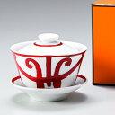 HERMES ガダルキヴィール レッド 011082P 湯呑茶碗 ソーサー フタ セット 1客