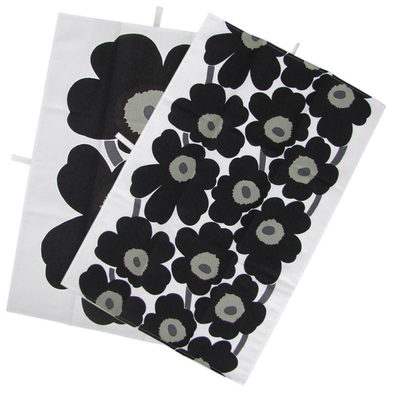 マリメッコ Marimekko タオル ティータオル ランチョンマット 2枚セット 70×47cm UNIKKO ウニッコ ホワイト×ブラック 66943 030 母の日