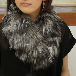 Fox & ラクーンファーパッチワーク (L size) Tippet scarf color collar rolls made in Japan brand fur STORY magazine s ■ know it fashionable _ Rakuten shopping stall