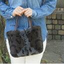 ジャグジー ファートートバッグ ミニ 毛皮 革 レザー 鞄