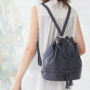 アンジェリーナ巾着(きんちゃく)型 4wayバッグ&リュックサック(バックパック)Lサイズ 革 レザー
