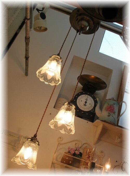【アンティーク照明】【LED電球対応】FC-202A3 J03(3灯ペンダントランプ) 【アリスの時間】