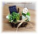 箱庭バスケット ナチュラルな多肉カフェ【ボックス 木製 インテリア オーナメント 花 緑】 【アリスの時間】★