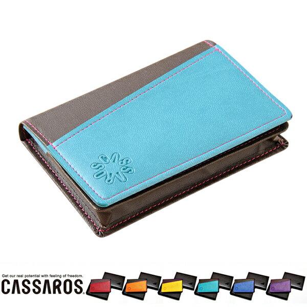 キャサロス 名刺ケース ITALIAN MATERIAL CASSAROS カードケース シンプル バイカラー オシャレ 贈り物 ギフト