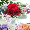 ワイン色紫陽花と5色のバラ。フローラル・パフェアレンジメント プリザーブドフラワー _.