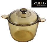 VISIONS(ビジョン) クックポット3.5Lガス火専用 耐熱ガラスで調理の様子が一目でわかる。